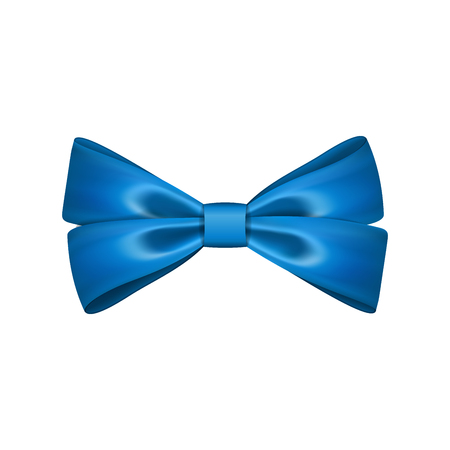 Gift bow ribbon silk. Blue bow tie isolated. 3D gift bow tie for Christmas present, holiday decoration, birthday celebration. Decorative satin ribbon element Vector illustration