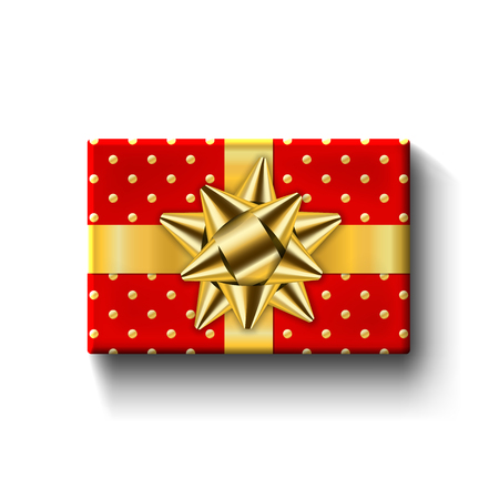 Red gift box top view, gold ribbon bow. Isolated white background. Decoration present red gift box for holiday, Valentine celebration, birthday surprise. Package giftbox design Vector illustration Stock Illustratie
