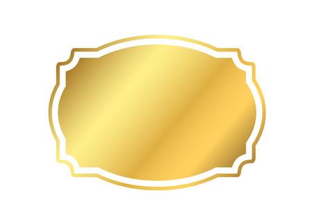 mirror image: Gold frame. Beautiful simple golden design. Vintage style decorative border isolated white background. Elegant gold art frame. Empty copy space decoration, photo, banner Vector illustration Illustration