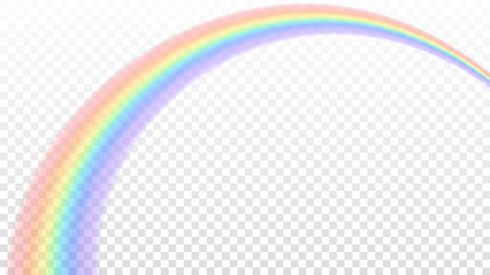 Rainbow icon. Shape arch realistic isolated on white transparent background. Colorful light and bright design element. Symbol of rain, sky, clear, nature. Graphic object Vector illustration Reklamní fotografie - 82439640