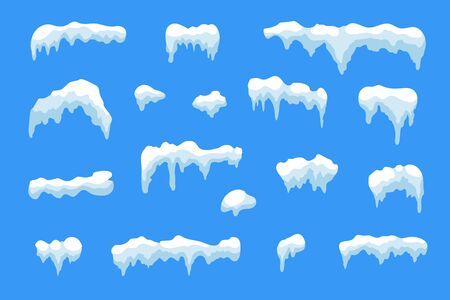 Cartoon style of Snow, ice icicle set.