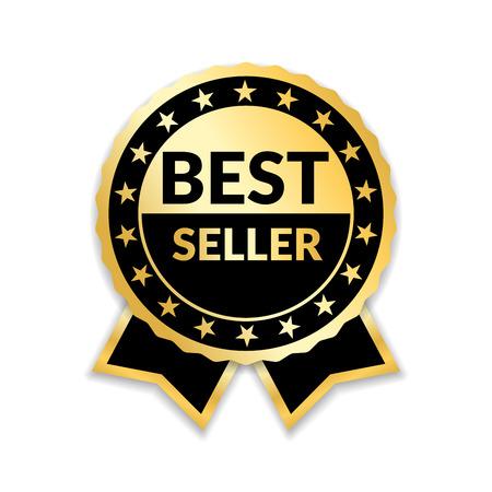 리본 상 베스트 셀러. 골드 리본 수상 아이콘 격리 된 흰색 배경입니다. 베스트 셀러 황금 태그 판매 레이블, 배지, 메달, 품질 보증 제품, 비즈니스 인