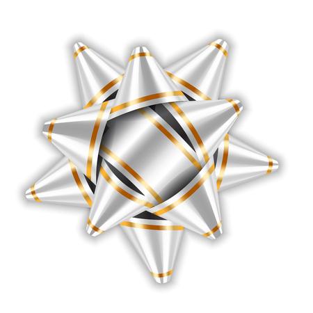 Silver bow ribbon decor element package. Shiny white satin decoration gift present, holiday design, isolated white background. Symbol Christmas, New Year celebration, birthday Vector illustration