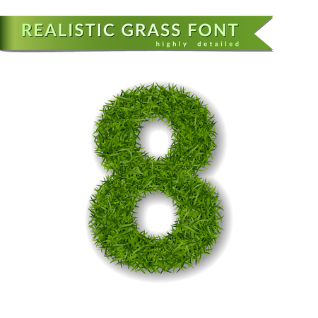 Grass number eight. Green number 8, isolated on white background. Green grass eight, symbol of fresh nature, plant lawn, summer. Grass texture spring font. Beautiful eco design Vector illustration