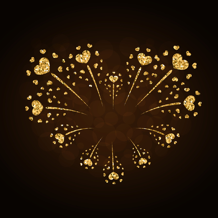Heart firework gold. Beautiful flat golden firework isolated on black background. Bright decoration design Valentine day, romantic love card, wedding celebration, festival Vector illustration