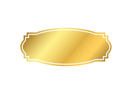 mirror frame: Gold frame. Beautiful simple golden design. Vintage style decorative border isolated white background. Elegant gold art frame. Empty copy space decoration, photo, banner Vector illustration Illustration