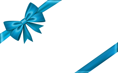 Gift bow ribbon silk. Blue bow tie isolated white background. 3D gift bow tie for Christmas present, holiday decoration, birthday celebration. Decorative satin ribbon element Vector illustration Vettoriali