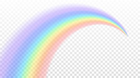 Regenbogen-Symbol. Formbogen realistisch isoliert auf weißem transparenten Hintergrund. Buntes Licht und helles Design-Element. Symbol des Regens, Himmel, klar, Natur. Grafik-Objekt Vektor-Illustration