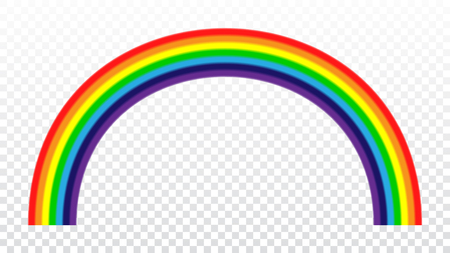 Rainbow icon. Shape arch cartoon isolated on white transparent background. Colorful light and bright design element. Symbol of rain, sky, clear, nature. Flat simple style Vector illustration