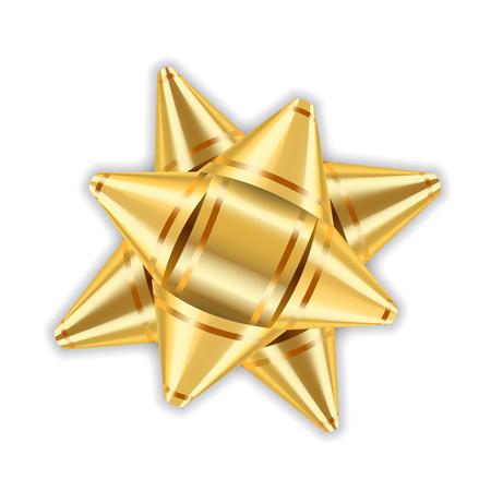 Gouden boog lint decor element pakket. Glanzend gouden gift van de satijndecoratiegeschenk, vakantieontwerp, geïsoleerde witte achtergrond. Symboolkerstmis, Nieuwjaarviering, verjaardags Vectorillustratie