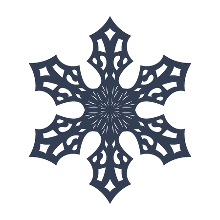 lightweight ornaments: Snowflake sign. Black Snowflake icon isolated on white background. Snow flake silhouette. Symbol of snow, holiday, cold weather, frost. Winter design element Vector illustration
