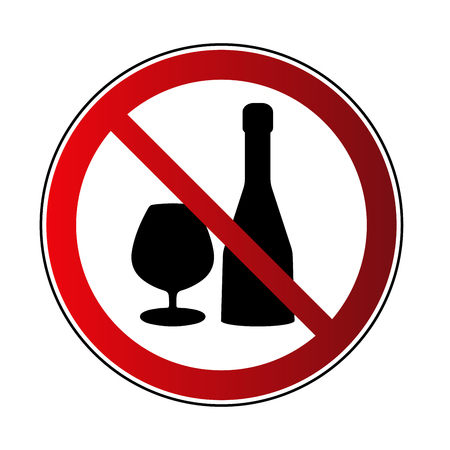 No alcohol drink sign. Prohibited sign beverage alcohol, isolated on white background. Black silhouette in red round icon. No drinking pictogram. Forbidden No alcohol symbol Vector illustration Illustration