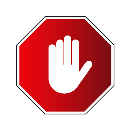 Stop road sign. Prohibited warning icon. Palm in red octagon. Road stop sign with hand isolated on white background. Volume effect. Symbol of danger, attention, safety Vector illustration