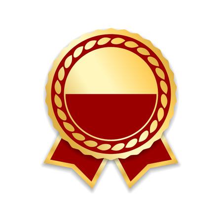 Award lint geïsoleerd. Gouden rode ontwerpmedaille, etiket, kenteken, certificaat. Symbool beste verkoop, prijs, kwaliteit, garantie of succes, prestatie. Gouden lint decoratie vectorillustratie Stockfoto - 85014173