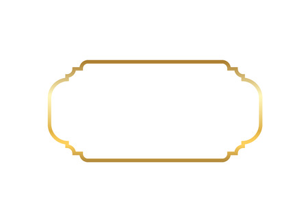 Gold frame. Beautiful simple golden design. Vintage style decorative border isolated white background. Elegant gold art frame. Empty copy space decoration, photo, banner Vector illustration Illustration