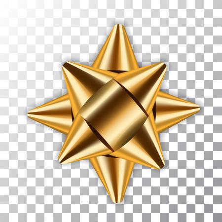 Gouden boog lint decor element pakket. Glanzende gouden gift van de satijndecoratiegeschenk, geïsoleerde witte transparante achtergrond. Kerstmis, Nieuwjaar vakantie viering ontwerp vectorillustratie