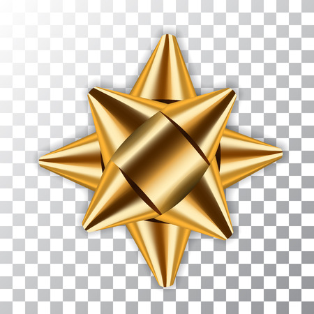 Paquet d'élément de décor de ruban d'arc d'or. Cadeau cadeau brillant décoré en satin doré, fond transparent blanc isolé. Noël, Nouvel An, fête, célébration, dessin, vecteur, illustration