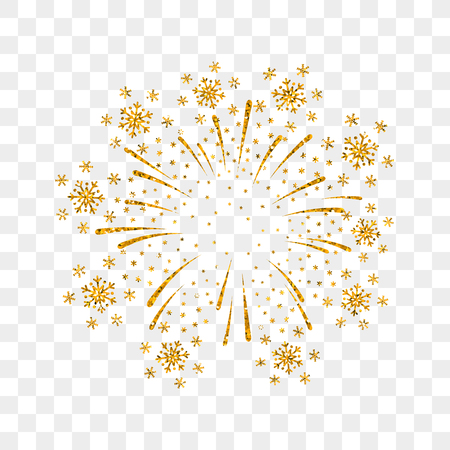 Firework gold isolated. Beautiful golden firework on transparent background. Bright decoration Christmas card, Happy New Year celebration, anniversary, festival. Flat design Vector illustration  イラスト・ベクター素材