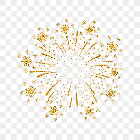 Fuegos artificiales de oro aislado. Fuego artificial de oro hermoso en fondo transparente. Decoración brillante tarjeta navideña, feliz año nuevo, aniversario, festival. Diseño plano ilustración vectorial