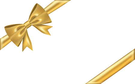 Gold gift bow ribbon. Golden bow tie isolated on white background. 3D shiny gift bow tie for Christmas present, holiday decoration, birthday. Silk ribbon for invitation Vector illustration Stock Illustratie