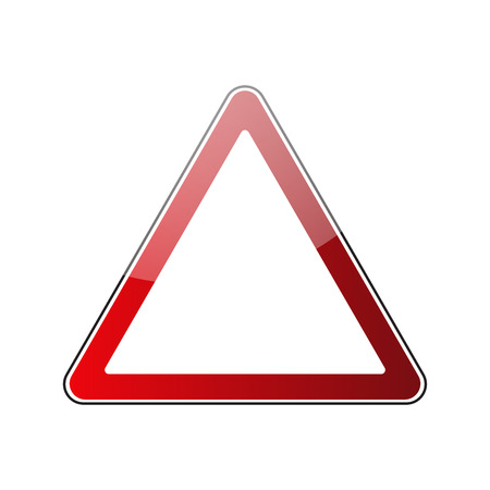 Triangle warning sign blank. Danger red triangular road sign isolated on white background. Empty roadsign blank. Glossy icon. Street triangle sign. Vector illustration Illustration