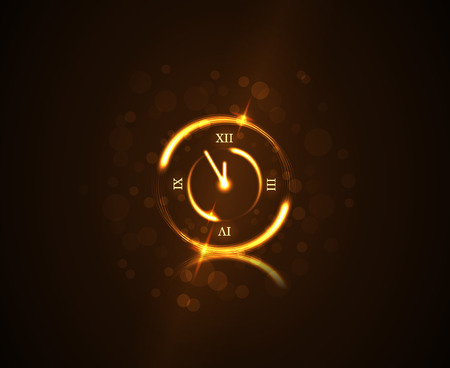 clock: Happy New Year background. Magic gold clock countdown five minute time.