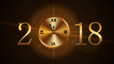clock: 2018 Happy New Year card on a black background Illustration