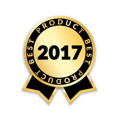 seal of approval: Ribbon award best product of year 2017, Gold ribbon award icon isolated on white color, Best product golden label for prize, badge, medal, guarantee quality product