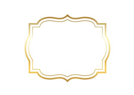 Gold frame. Beautiful simple golden design. Vintage style decorative border isolated white background. Elegant gold art frame. Empty copy space decoration, photo, banner Vector illustration Ilustração Vetorial