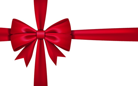 Gift bow ribbon silk. 3D red bow tie isolated on white background Vector illustration