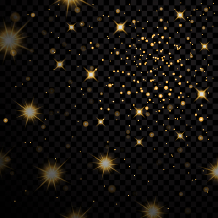 Gold light stars on dark transparent background. Abstract bokeh glowing design. Shine bright elements. Golden shiny fantasy glow in dark. Vector illustration Illustration