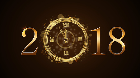 Happy New Year card background. Magic gold clock countdown. Golden numbers 2018. Christmas and New Year night glitter clock. Design decoration. Symbol wish, celebration Vector illustration Illustration