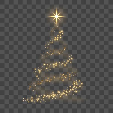Arbre de Noël sur fond transparent. Sapin de Noël d'or comme symbole de bonne année, célébration de vacances joyeux Noël. Décoration lumineuse dorée. Design brillant brillant Illustration vectorielle Banque d'images - 87439250