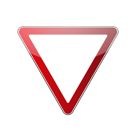 Yield triangle sign blank. Traffic red road sign isolated on white background. Warning street safety icon for transportation. Glossy sign with reflection. Vector illustration Vetores