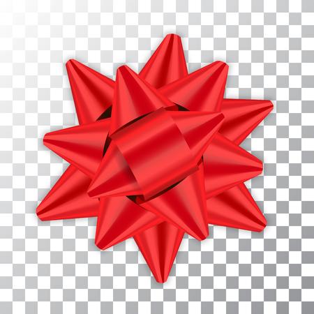 Paquet d'élément de décor ruban rouge arc brillant couleur brillante décoration cadeau présent isolé fond transparent blanc. Célébration de Noël Nouvel An, conception de vacances d'anniversaire Illustration vectorielle Vecteurs