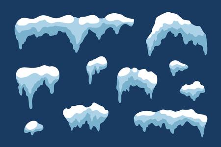 Ensemble de glaçons de glace de neige Design d'hiver. Modèle de neige bleue blanche. Décoration de cadre enneigée isolée sur fond bleu. Style de dessin animé. Noël, Nouvel An, texture de glace gelée Illustration vectorielle Vecteurs