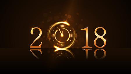 Feliz año nuevo fondo de la tarjeta. Cuenta atrás del reloj mágico de oro. Números de oro 2018. Navidad y año nuevo brillo de la noche del reloj. Diseño de decoración. Deseo de símbolo, celebración, ilustración vectorial Foto de archivo - 88566907