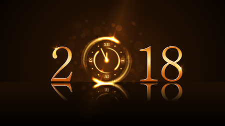 Feliz año nuevo fondo de la tarjeta. Cuenta atrás del reloj mágico de oro. Números de oro 2018. Navidad y año nuevo brillo de la noche del reloj. Diseño de decoración. Deseo de símbolo, celebración, ilustración vectorial