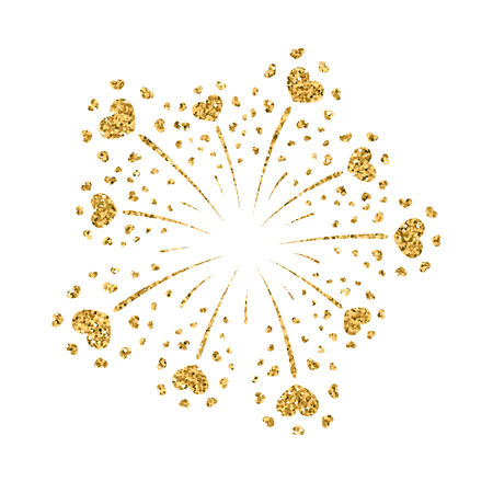 shiny hearts: Heart firework gold. Beautiful flat golden firework isolated on white background. Bright decoration design Valentine day, romantic love card, wedding celebration, festival Vector illustration