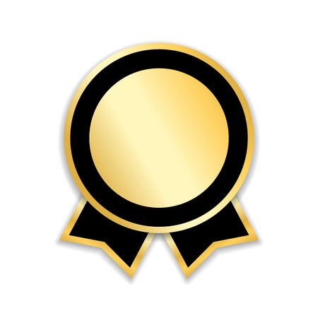 分離されたリボン賞を受賞します。ゴールド デザイン メダル、ラベル、バッジ、証明書。最高の販売、価格、品質、保証、または達成成功のシンボルです。ゴールデン リボン賞装飾ベクトル図