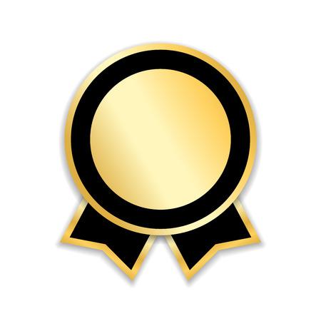 Nastro premio isolato. Medaglia d'oro, etichetta, distintivo, certificato. Simbolo migliore vendita, prezzo, qualità, garanzia o successo, realizzazione. Illustrazione di vettore della decorazione del premio del nastro dorato Vettoriali