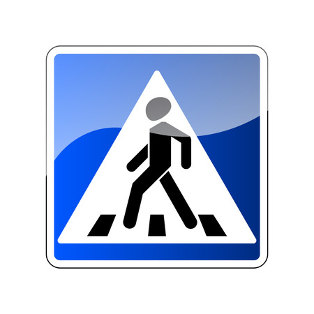 Pedestrian crossing sign, Traffic road blue sign isolated on white background, Warning people street safety icon pedestrian crossing, Glossy sign with reflection illustration