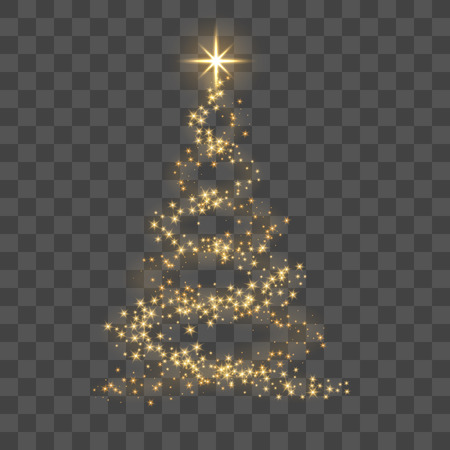 Arbre de Noël sur fond transparent. Sapin de Noël d'or comme symbole de bonne année, célébration de vacances joyeux Noël. Décoration lumineuse dorée. Design brillant brillant Illustration vectorielle Vecteurs