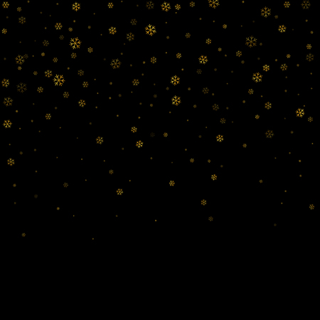 Christmas winter black background with Christmas golden falling snowflakes. Gold elegant snowfall Christmas background. Happy New Year card design for holiday.