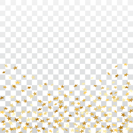Gold stars falling confetti frame isolated on transparent background. Golden abstract pattern Christmas, New Year holiday celebration, festive, party. Glitter explosion on floor Vector illustration Vectores