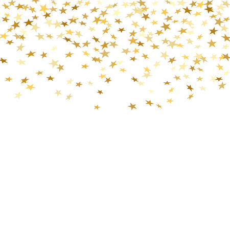 Gold stars falling confetti isolated on white background. Golden abstract random pattern Christmas card, New Year holiday. Shiny confetti paper star. Glitter explosion rain Vector illustration