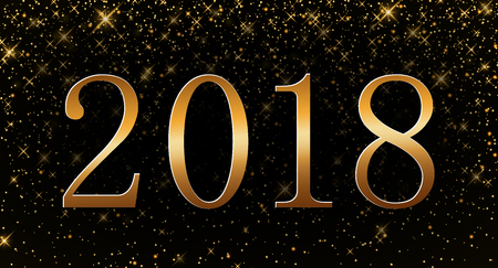 Happy New Year background. Gold numbers 2018 card. Christmas design with light, vibrant, glow and sparkle, glitter. Symbol of holiday, celebration. Luxury golden texture. Vector illustration