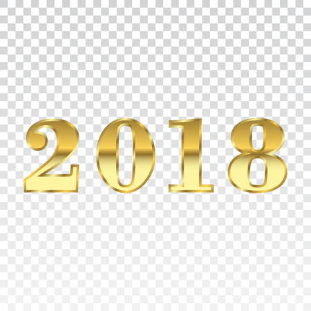Happy New Year Golden Numbers. Gold Numbers 2018 On White ...