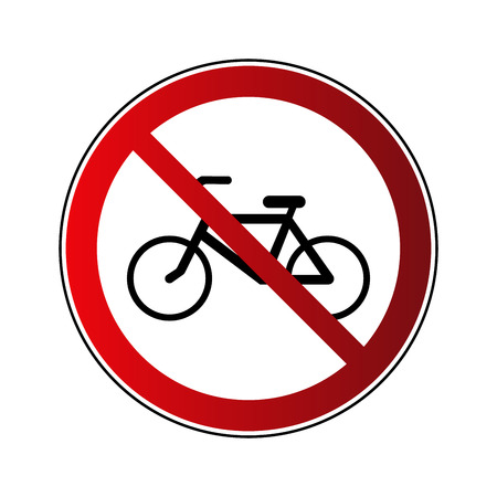 No bicycle sign. Forbidden red road sign isolated on white background. Prohibited no bicycle icon. No allowed bike button. Bicyclist warning icon. Restriction sign Vector illustration