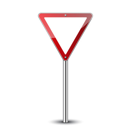Yield triangle sign blank. Traffic red road sign isolated on white background. Warning street safety icon for transportation. Guidepost pole. Empty sign template. Vector illustration